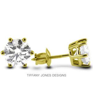 0.65ct K-VS1 Round Earth Mined Certified Diamonds 14k Gold Classic Stud Earrings