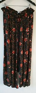 Bohemian Traders Plus Floral Wide Leg Elastic Waist Pants 100% Rayon 3XL EUC