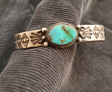 Sterling Turquoise Cuff Bracelet by Derrick Gordon, Navajo Jeweler - Nice Used