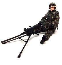 "HM ARMED FORCES 10"" Soldier Army Military Action toy man figure & Machine Gun"