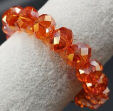 Faceted 10x14mm Orange Red Multicolor Crystal Beads Bracelet Aaa+