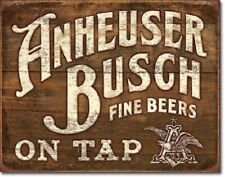 New Anheuser - Busch - Fine Beers On Tap Decorative Metal Tin Sign