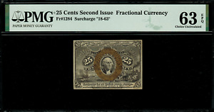 Fr-1284 $0.25 Second Issue Fractional Currency - 25 Cent - Graded PMG 63 EPQ