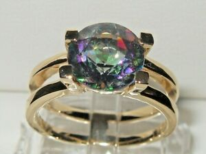 Gems TV 9ct Yellow Gold 3.015ct Rainbow Mystic Topaz Solitaire Double Band Ring