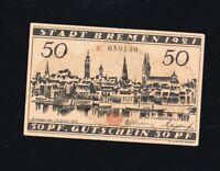 Notgeld Gutschein der Stadt  BREMEN n    192!   50 Pf numeriert