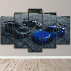 JDM NSX Nissan Skyline Toyota Supra 5 Piece Canvas Wall Art Print Home Decor