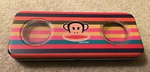 Paul Frank Metallic Pencil Box Case 2 Levels Multi-Colour Stripe Monkey Print