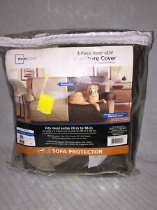 "MainStays 3-Piece Reversible Fabric Furniture Sofa Cover, Brown, Tan 74"" to 96"""
