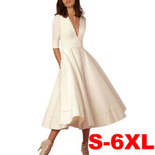 Women Deep V Neck Half Sleeves Cocktail Evening Ball Gown Party Dress Plus Size