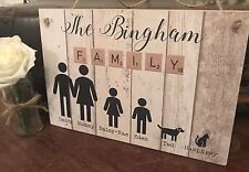Personalised Family Plaque Sign People Wooden Gift New Home