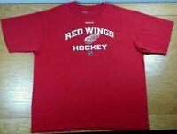 DETROIT RED WINGS Vintage Reebok NHL Hockey 100% Cotton Red T-Shirt Men's XL