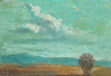 Expressionist mountain landscape gouche painting
