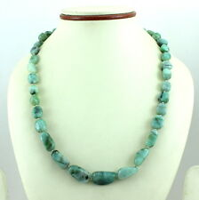 NECKLACE NATURAL GREEN EMERALD GEMSTONE 80 GRAMS 925 STERLING SILVER