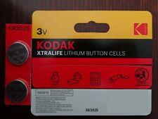 2 x KODAK CR2025 3V Lithium Coin Cell Battery DL BR 2025 Key Fobs Alarms   B1334