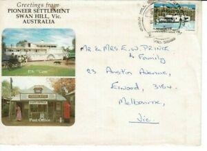 Postmark Swan Hill Pioneer Settlement relevant APM4482 postmark tourism cover