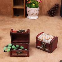 Vintage Jewelry Lock Necklace Bracelet Storage Organizer Wooden Case Gift Box Q