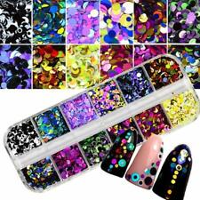 ROUND GLITTER PAILLETTE DOT SHAPE Mini Sequins Confetti Loose Nail Art 3D Set LD
