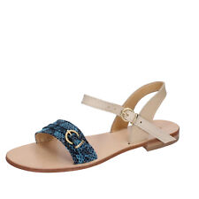 scarpe donna CALPIERRE 40 sandali blu pelle BZ838-E
