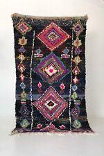 """Vintage Moroccan Boucherouite Rug Handmade Bohemian OOAK 85"""" X 48"""" Pre-Owned"""