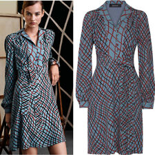 sz 44 NEW $2200 GUCCI RUNWAY Dusty Blue Red Ribbon Print BELTED SHIRT DRESS US 8