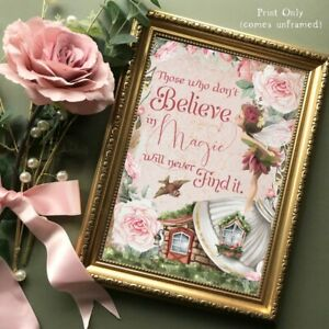 Fairy Wall Art Print Magic Quote Nursery Picture Girls Enchanted Fairies