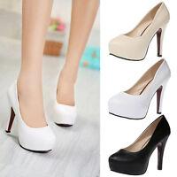 Women's Lady Fashion Round Toe Stiletto High Heel Platform Pump Shoes PU Heels