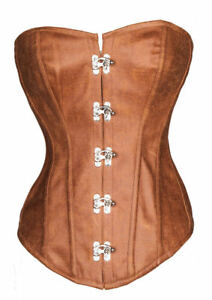 Corset Corsage Steampunk Leather Old Fashioned Suede Brown Gothic for Women