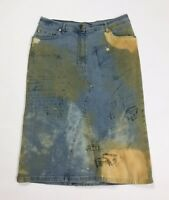 les copains gonna jeans w28 tg 42 denim blu mini tubo donna tubino usato T2871