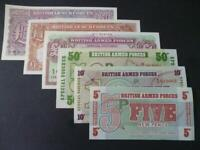 BRITISH MILITARY ARMED FORCES SPECIAL VOUCHERS SET OF SIX NOTES UNCIRCULATED.