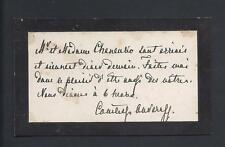 Annotated Imperial Russian Antique Mourning Calling Card for Countess Ouvaroff