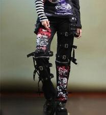 Punk Rockabily Pants Fashion Womens Mens Gothic Buckles Trousers Pants Hip Hop