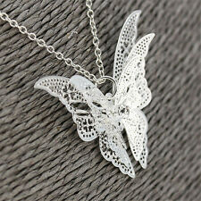 Fashion Women Jewelry Silver Plated Openwork Butterfly Necklace Pendant Display