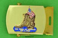 The Price of Freedom Isn't Free - Brass Buckle & black web belt USA FLAG