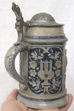Vintage Stoneware Beer Stein Germany Blue Grey People at Table Floral Panels