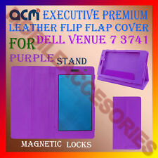 ACM-EXECUTIVE LEATHER FLIP CASE for DELL VENUE 7 3741 TAB COVER STAND - PURPLE