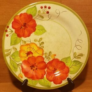 """Pier 1 OLIVIA Salad plate, 8 7/8"""", Earthenware, Red Floral, New with tags, NWT"""