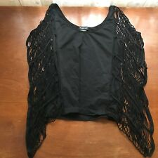 Bebe Bat Wing Top medium Black Stretch Round Neck Halloween Grunge $4 EXPRESS