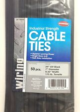 (250) Carrand 24 inch Industrial 175 Lbs Tensile Uv Black Cable Wire Zip Ties