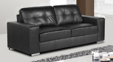 HARVEY 3 Seater Leather Aire Black Modern 195cm Wide Sofa Suite NEW IN STOCK