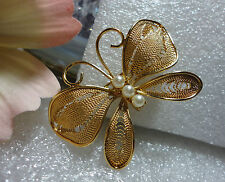 NAPIER VTG , LATICE BUTTERFLY BROOCH / PIN ~ DELICATE  AND BEAUTIFUL, SIGNED
