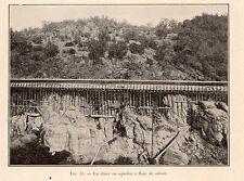 SLUICE EN AQUEDUC  RUEE OR GOLD RUSH INDUSTRIE  IMAGE 1907 ENGRAVING