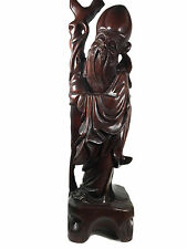 Chinese Wood Carved Statue Man Large