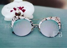 SILVER Marble CATEYE MIRRORED Reflective Aviators SUNGLASSES Celebrity MARBS .42