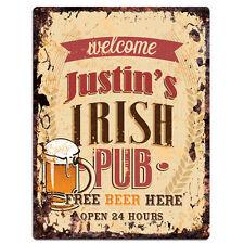 PMBP0056 JUSTIN'S IRISH PUB Rustic tin Sign PUB Bar Man cave Decor Gift