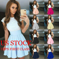 Women's Swing Skater Dress Short Sleeve Evening Party Beach Mini Lace Sundress