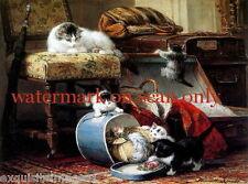 Vintg Art~Mischievous Kitten~Cat~Cats~Kitty~Kittens~Hat Box~NEW Lge Note Cards