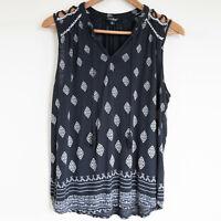 Lucky Brand Women's Sleeveless All Over Boho Pattern Summer Blouse Size LARGE
