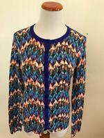TABITHA Anthropologie blue print cotton cardigan sweater M  NEW