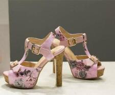 Vogue Flower Printed Platform Block High Heel Fashion Summer Slingbacks Sandals