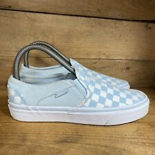 Vans Classic Slip On Women's Light Blue Checkerboard Sneakers Shoes Size 7